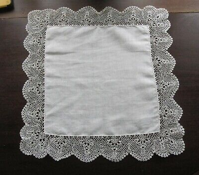 Vintage Antique Handmade Crochet Lace Knotted Lace Linen Bridal Handkerchief