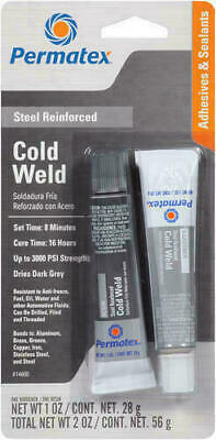 Permatex 14600 Cold Weld Bonding Compound 15-minute, two-part adhesive.