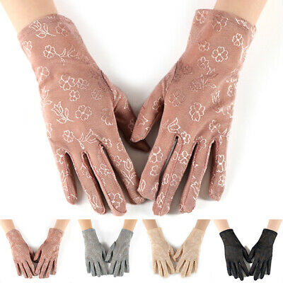 Women's Sunscreen Gloves Sun Protection Flowers Lace Gloves Driving Wrist Glove