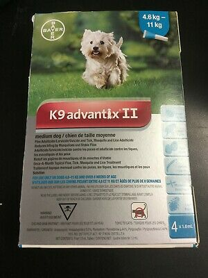 Bayer K9 Advantix II Flea Mosquito Prevention for Medium Dogs 11-20 lb #0372