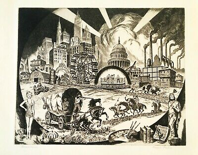 1948 Etching By New York Artist Ralph Fabri Titled Americana - Social Commentary