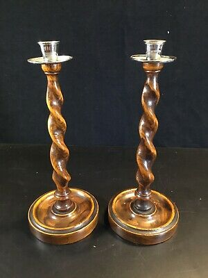 """Pair of Antique English Barley Twist Oak Brass 12"""" Candlesticks Candle Holders"""