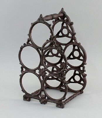 9977574 Iron Wine Rack Metal Rustic Vintage H34cm for 5 Bottles