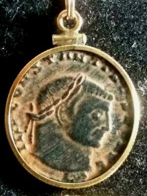 Large Constantine Great Ancient Roman Coin GoldFilled Pendant Necklace Red Sandy