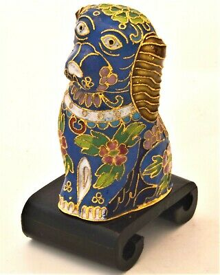 Vintage Chinese Cloisonne Dog on Stand. Hand Painted Enamel & Floral Pattern