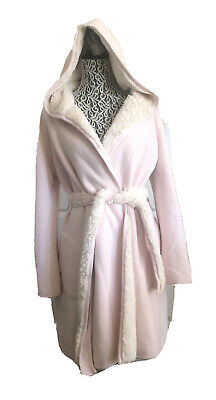 UGG WOMEN PORTOLA REVERSIBLE SEASHELL PINK FAUX FUR TRIM PLUSH ROBES Size S
