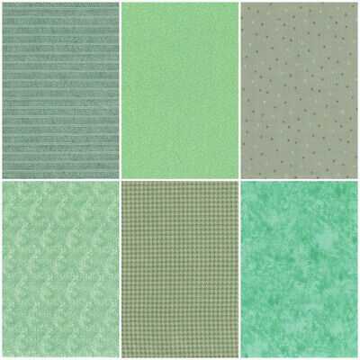 Lot of 6 Quarter Yard Strips - Quilting Cotton Fabric, Multiple Shades of GREEN