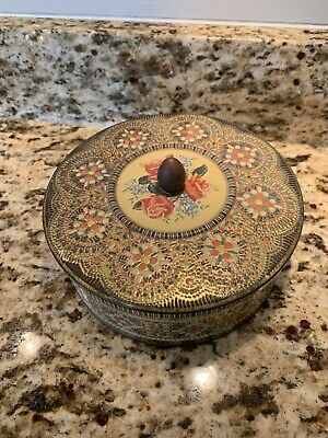 "Vintage 7"" Daher Pattern Made In England Round Tin Container Rose Pattern"