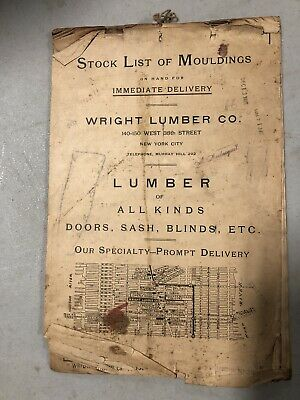 Antique Stock List Lumber Moulding Wright Lumber Co NYC 1915