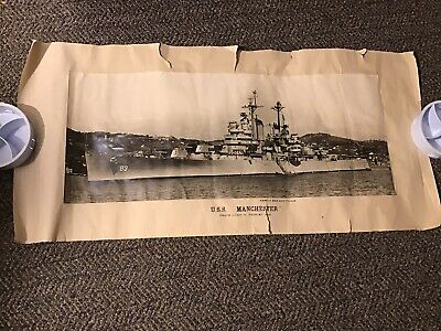 USS Manchester Large 1949 Photo Post WWII US Navy Battle Ship