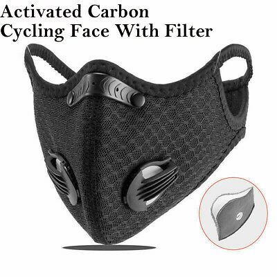 Cycling Face Half Cover Carbon Anti-Dust Outdoor Running Mouth Shield & 2 Filter