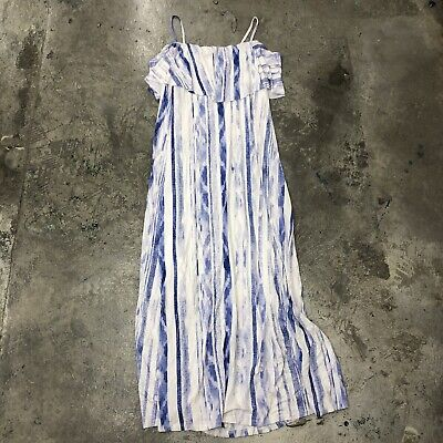 Lemon Tart Tacita Maxi Dress White Blue Ruffle Straps Boho 2X NWT