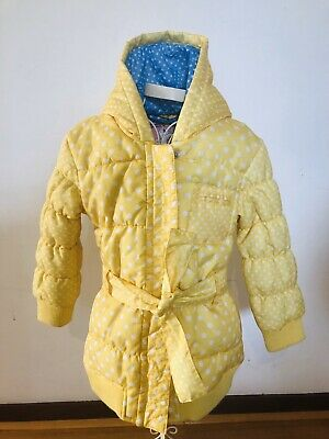 M&S Yellow Polkadot puffer jacket / coat, with hood, as new, Marks and Spencer