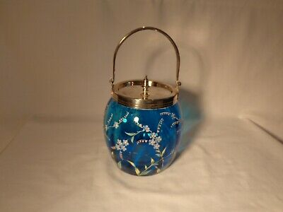 Victorian Engraved Silverplate Cobalt Blue Hp Enameled Daisies Biscuit Jar  - Nr