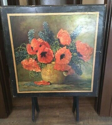 Antique Vintage Sewing Table Folding Collapsable Shabby Traveling  Floral Poppy