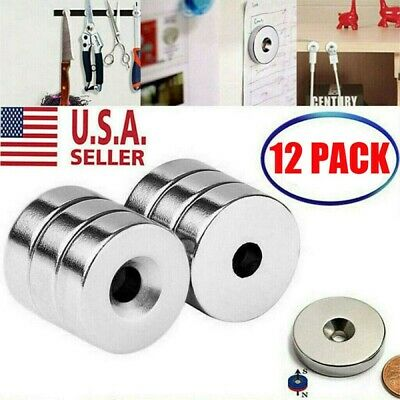 12 PACK 3/4 x 1/4 Inch Neodymium Rare Earth Countersunk Ring Magnets N52 NEW