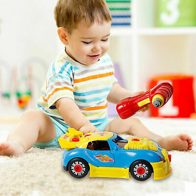 Childrens Kids Model Construction Kit Take Apart 2 in 1 Race Car Drill Tool Toy