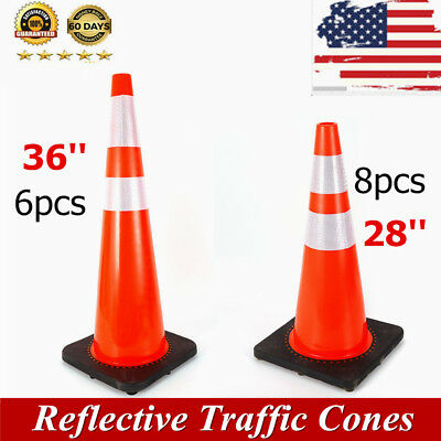 """28"""" 36'' 18'' Traffic Cones Safety Cones Road Emergency Parking Reflective Strip"""