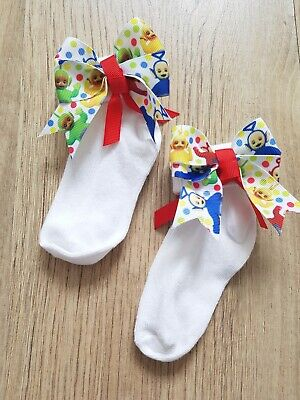 Baby Girls Socks 0-3 mths With Detachable Handmade Peppa Pig  Bow