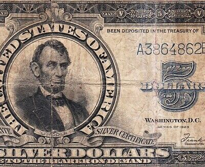"""Circulated RARE 1923 $5 """"PORTHOLE"""" Silver Certificate! FREE SHIPPING! A3864862B"""