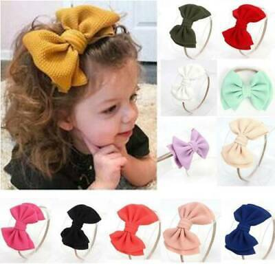 Girls Knot Headband Baby Big Bow Toddler Stretch Turban Nylon Hairband Head Wrap