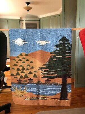 Vintage Hand Woven Tapestry Wall Hanging America Forest Sky Clouds Tree 20x27.5""