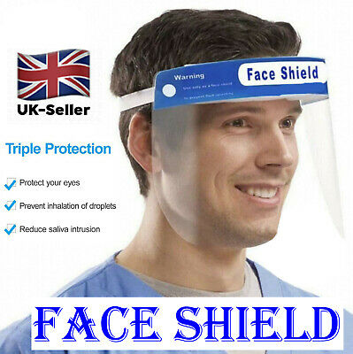 Transparent Clear Plastic Full Face COVERING Shield Visor Protection PPE UK