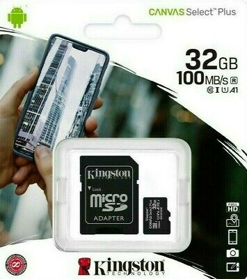 KINGSTON 32GB Micro SD SDHC Memory Card Class 10 with Adapter U1 A1 TF 100MB/s