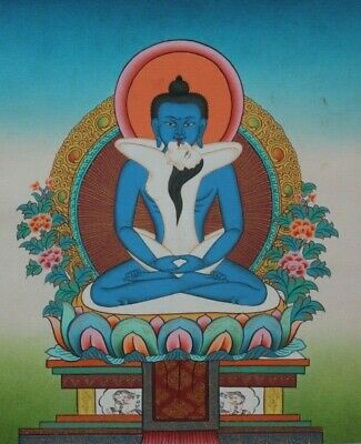 Late 20Th Century Fine Samantabhadra Thangka Painting Founded In Lhasa, Tibet.