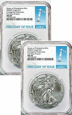 Pair of 2020 (P) $1 American Silver Eagles NGC MS70 / MS69 Emergency Production
