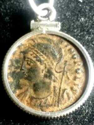 Constantine I, Ancient Roman Coin Red Sandy Patina Victory/Prow Sterling Pendant