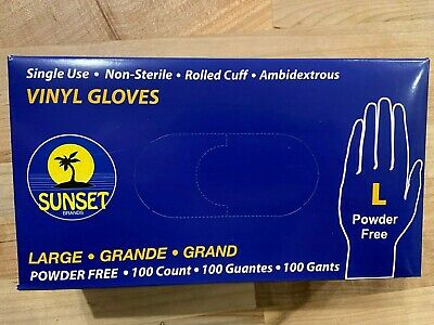 """""""NEW"""" 100 Count Disposible Protective Vinyl Gloves Large Non Latex"""