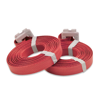 """150 Polypropylene Pre-Cut Strapping 1/2"""" x 17' Buckle Attached - RED"""