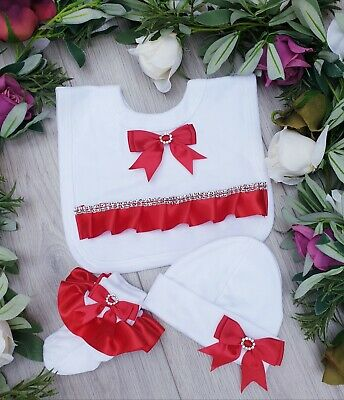 Baby Girls Luxury Frilly Socks ,Matching Bib And Hat All With Silk Ribbon And Bo