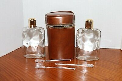 Vintage Double Glass Flask Leather Case Holder w/ Handle 3 Bonus Swizzle Sticks