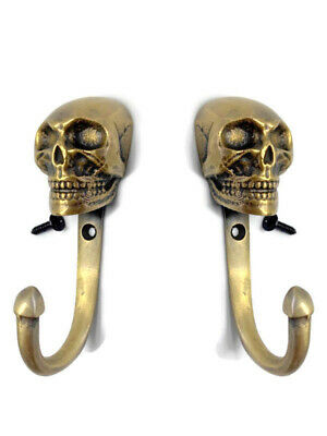 "2 small SKULL Head 3.1/2"" Solid heavy  Brass hook Wall Mount Coat Hat Hook 9 cm"