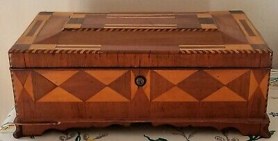 Vintage Inlay/Marquetry/Parquetry Jewelry/Sewing/Stash Box With 9 Compartments