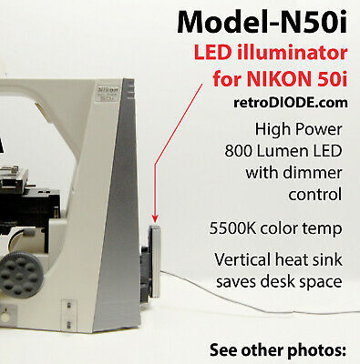 LED retrofit Kit with dimmer control for Nikon 50i microscopes.