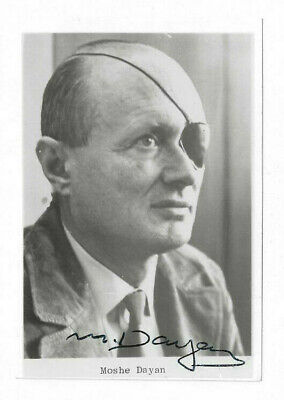 Moshe Dayan Signed 3 x 5 Photo / Autographed Israel Judaica