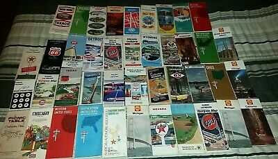 Vintage Lot of 42 United States US Road Maps-1940's-70s Gas Stations Oil Company