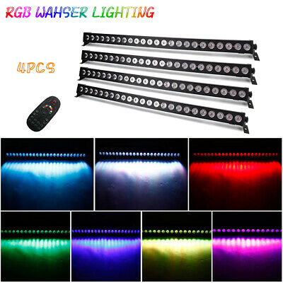 4X 72W 24 LED RGB Wall Washer Light Bar DMX Remote DJ Party Stage Lighting Club