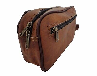 Leather Toiletry Bag Shaving Dopp Kit Grooming Cosmetic Pouch Travel Washbag