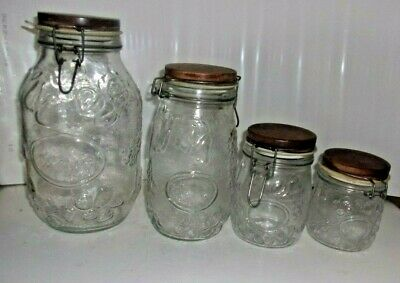 Vintage Wheaton Glass Jar Canisters Wood Top Wire Bale Embossed Fruit Set Rare