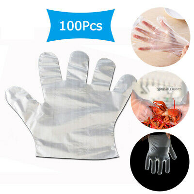 Gloves - Pack of 100PCS Clear Polythene Plastic Hygiene Lightweight & Disposable