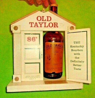 Vintage Old Taylor Bourbon Wooden Store Display & Bottle Merit Display Decor