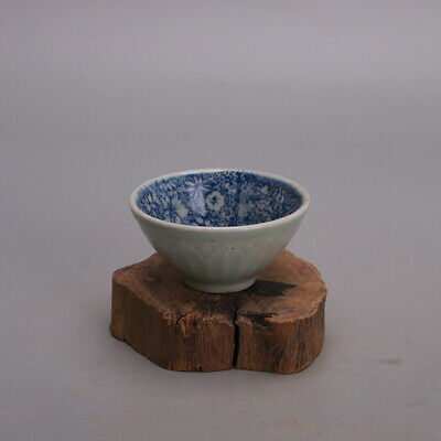 Collect China MingDynasty Blue and White Porcelain Flowers and Plants Teacup Cup
