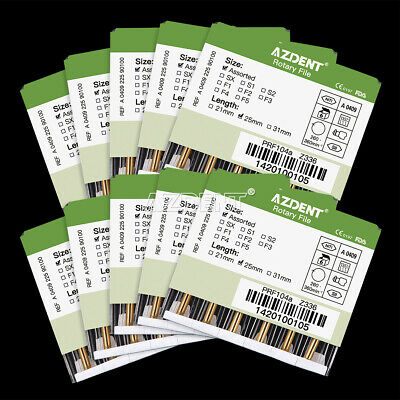 1 0X Dental Engine Use Rotary Heat Activation Canal Root Files 25mm 6Pcs/box