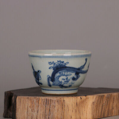 """2.8"""" Collect Chinese Ming Dynasty Blue and White Porcelain Two Dragon Teacup Cup"""