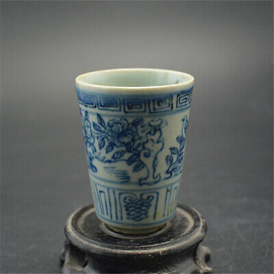 Collect China Qing Dynasty Blue and White Porcelain Flowers and Birds Teacup Cup