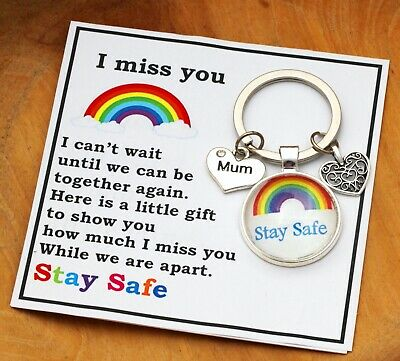 I Miss You Gift Stay Safe Keyring For Mum Dad Grandma  Nana